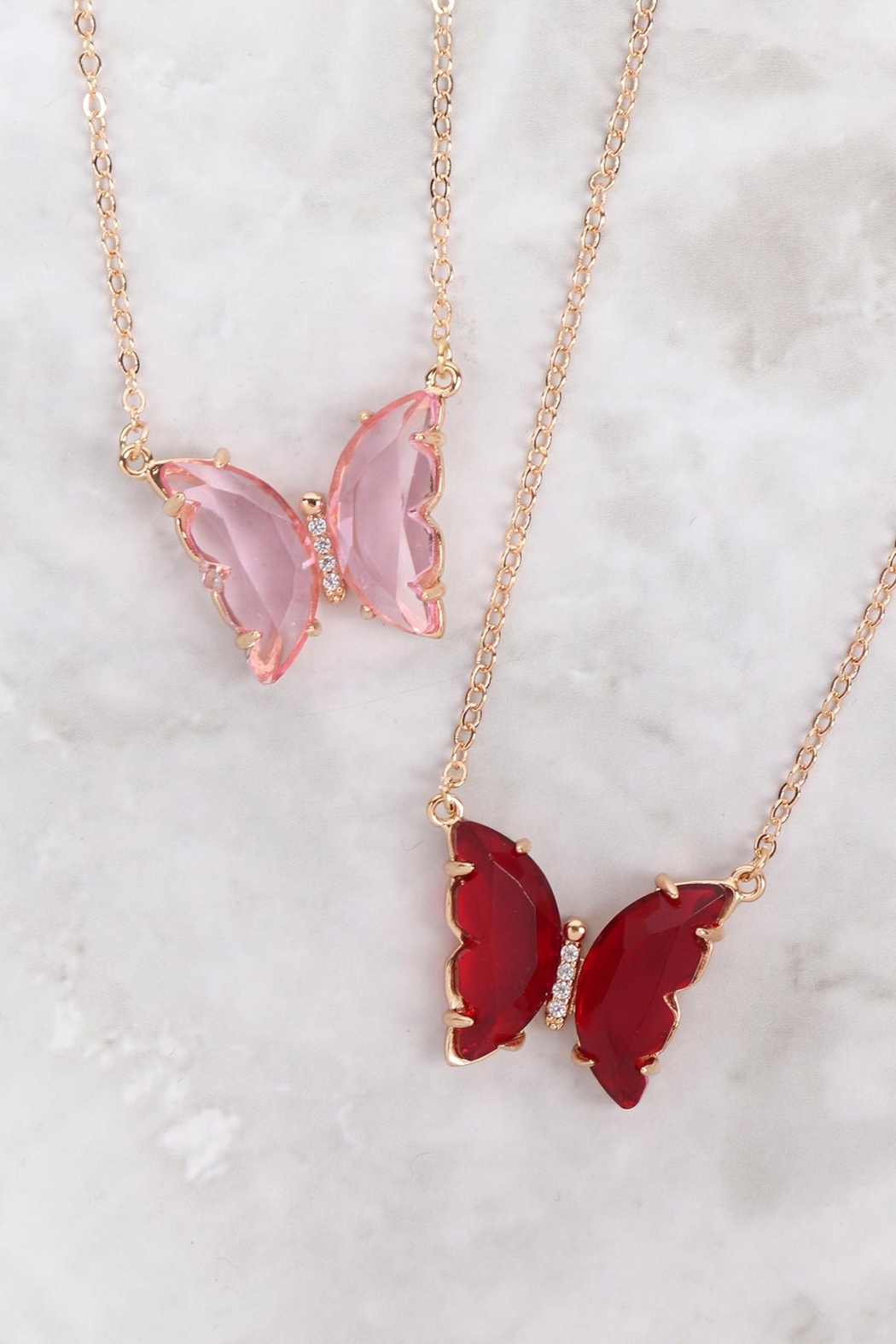 Riah Fashion Glass Butterfly Charm Necklace - Front Full Image