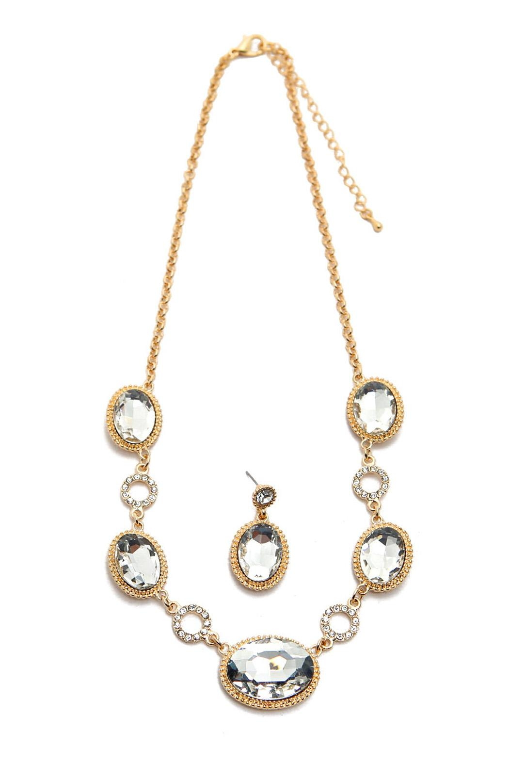 Riah Fashion Glass Crystal Necklace Set - Main Image