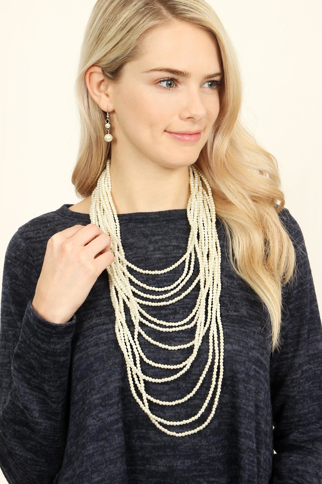Riah Fashion Pearl Layered Necklace Set - Front Full Image