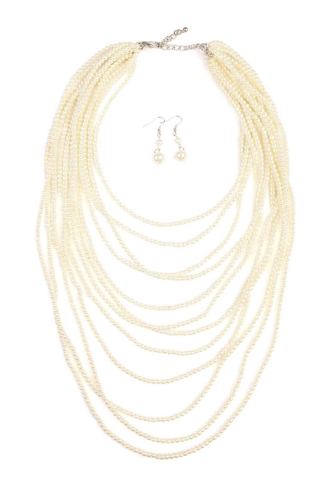 Riah Fashion Pearl Layered Necklace Set - Front Cropped Image