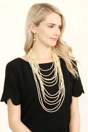 Riah Fashion Pearl Layered Necklace Set - Front full body