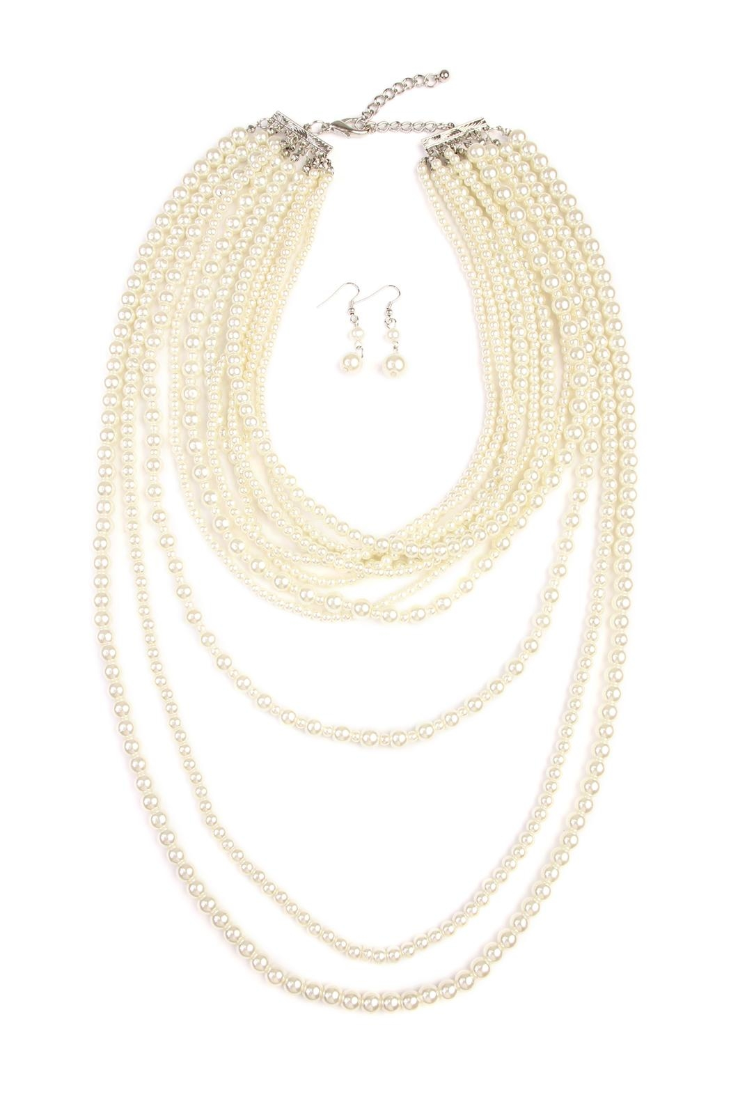 Riah Fashion Pearl Layer Necklace Earring Set - Main Image