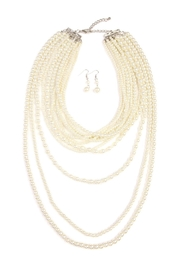 Riah Fashion Pearl Layer Necklace Earring Set - Front cropped