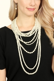 Riah Fashion Pearl Layer Necklace Earring Set - Front full body
