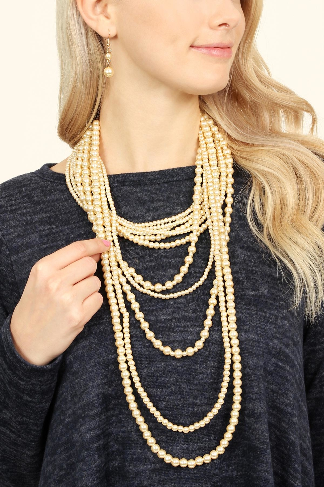 Riah Fashion Pearl Layer Necklace Earring Set - Front Full Image