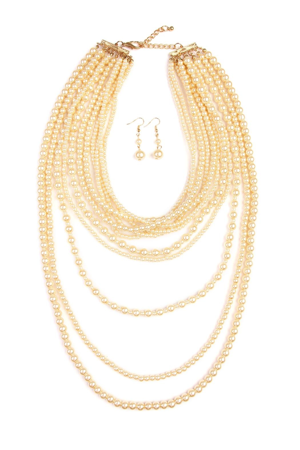 Riah Fashion Pearl Layer Necklace Earring Set - Front Cropped Image