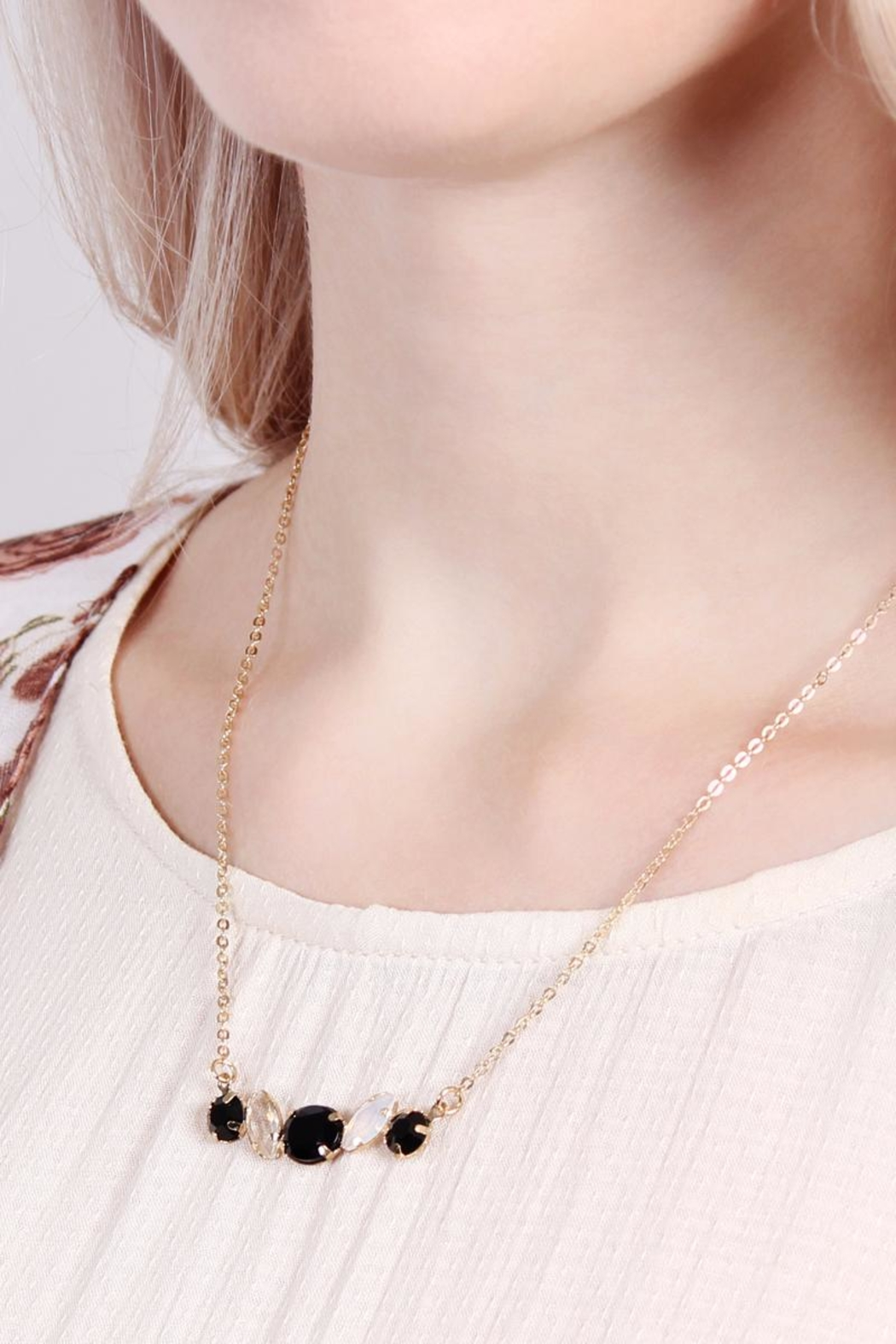 Riah Fashion Glass-Stone Dainty Necklace - Front Full Image