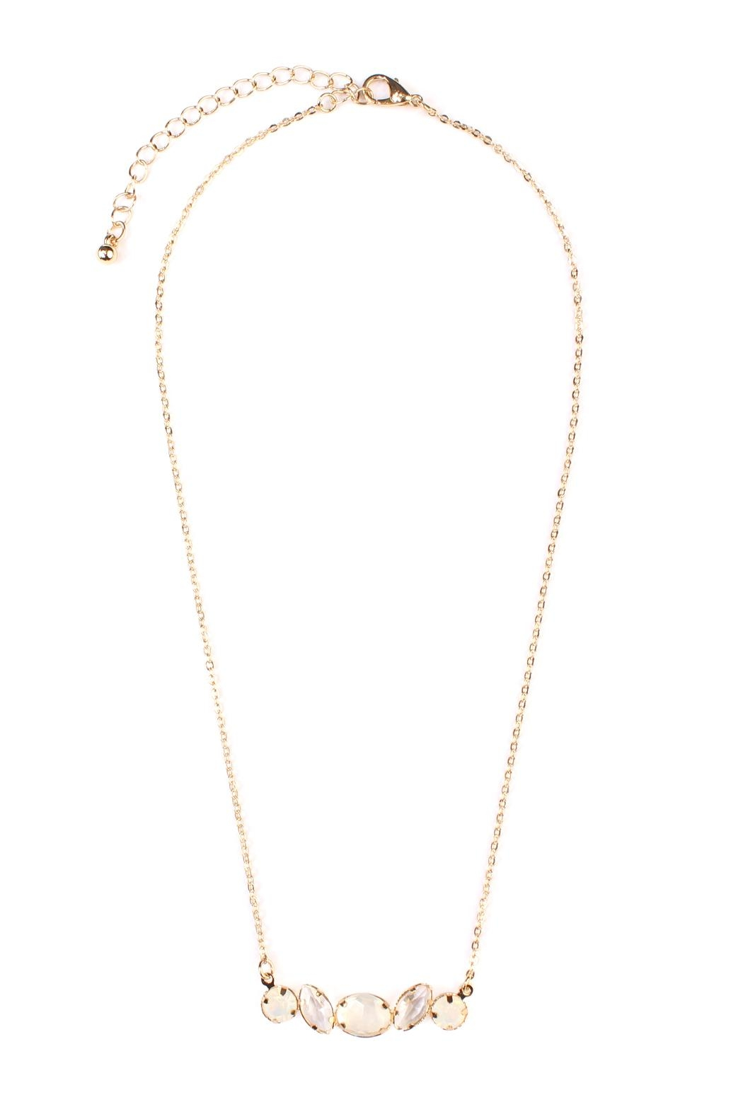 Riah Fashion Glass-Stone Dainty Necklace - Front Cropped Image