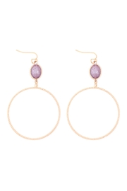 Riah Fashion Glass-Stone-Link-Open-Circle-Textured-Hook-Earrings - Product Mini Image