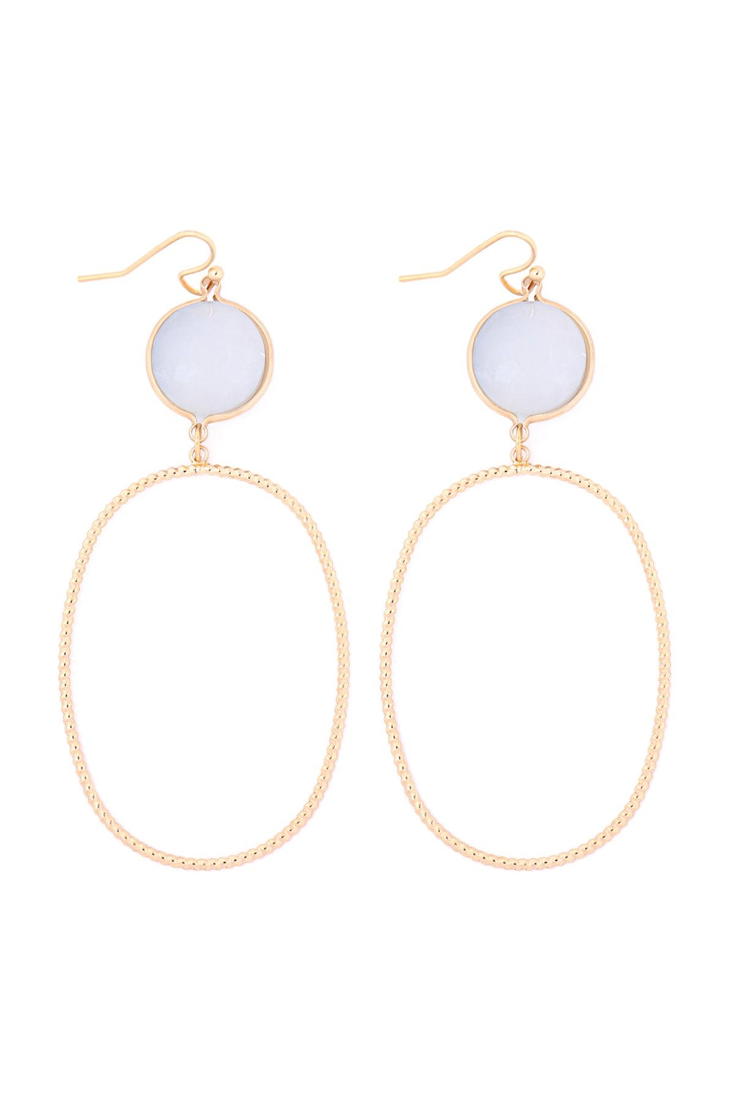 Riah Fashion Glass-Stone-Link-Open-Oval-Textured-Hook-Earrings - Front Cropped Image
