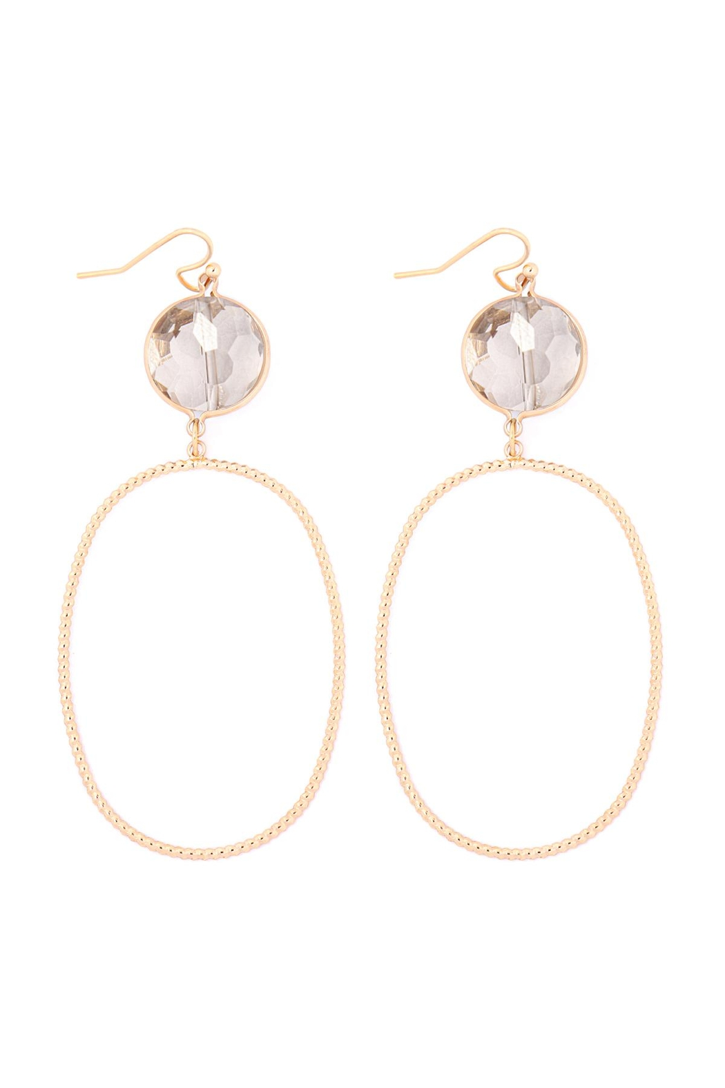 Riah Fashion Glass-Stone-Link-Open-Oval-Textured-Hook-Earrings - Main Image