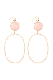 Riah Fashion Glass-Stone-Link-Open-Oval-Textured-Hook-Earrings - Front cropped