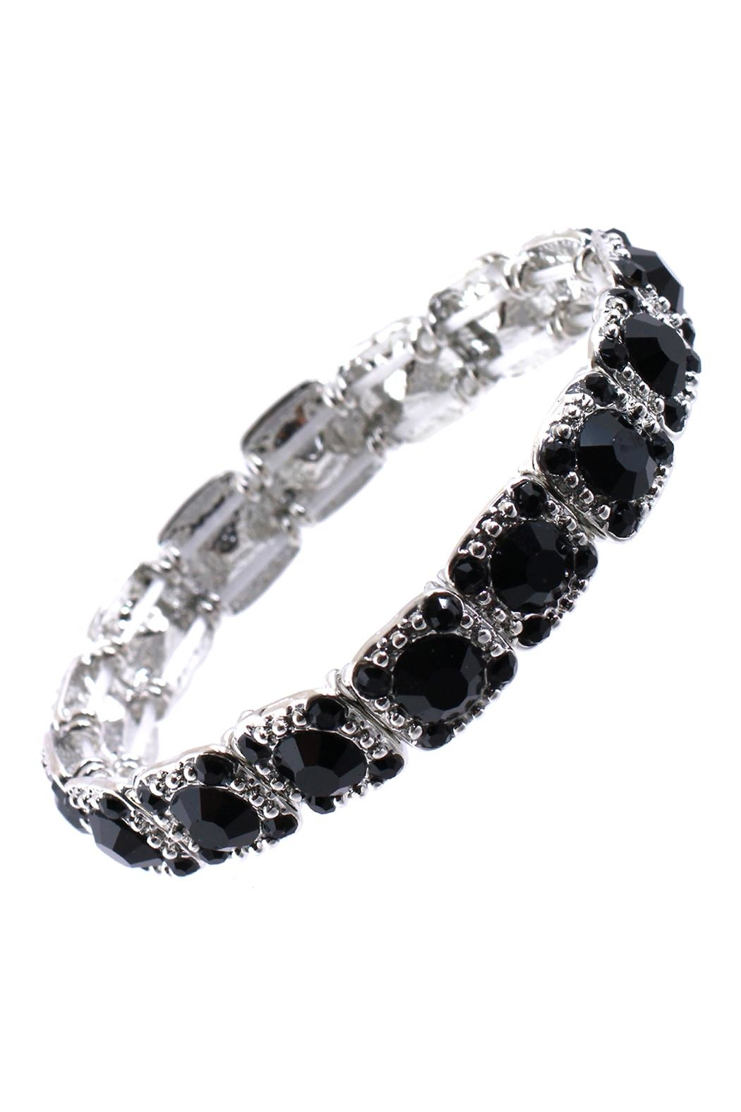 Riah Fashion Glass Stone Stretchable Bracelet - Front Cropped Image