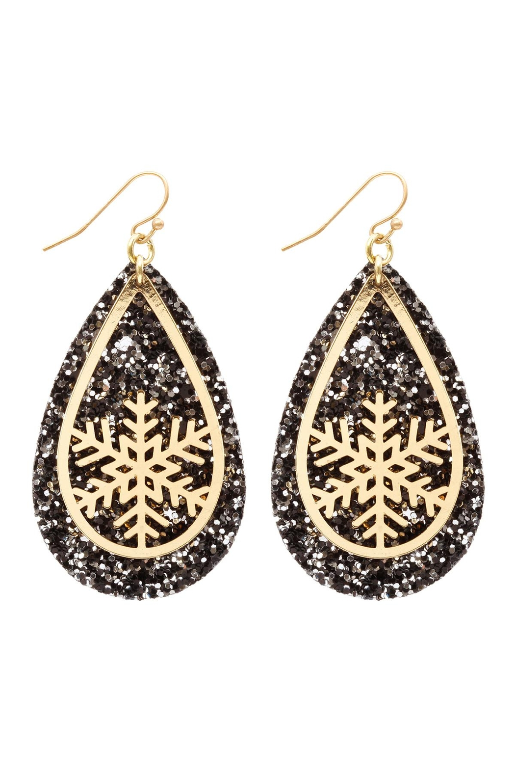 Riah Fashion Glitter-Christmas-Snowflake-Layered-Teardrop-Earrings - Front Cropped Image