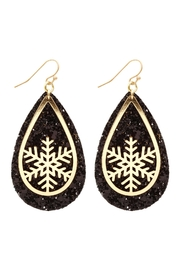 Riah Fashion Glitter-Christmas-Snowflake-Layered-Teardrop-Earrings - Front cropped