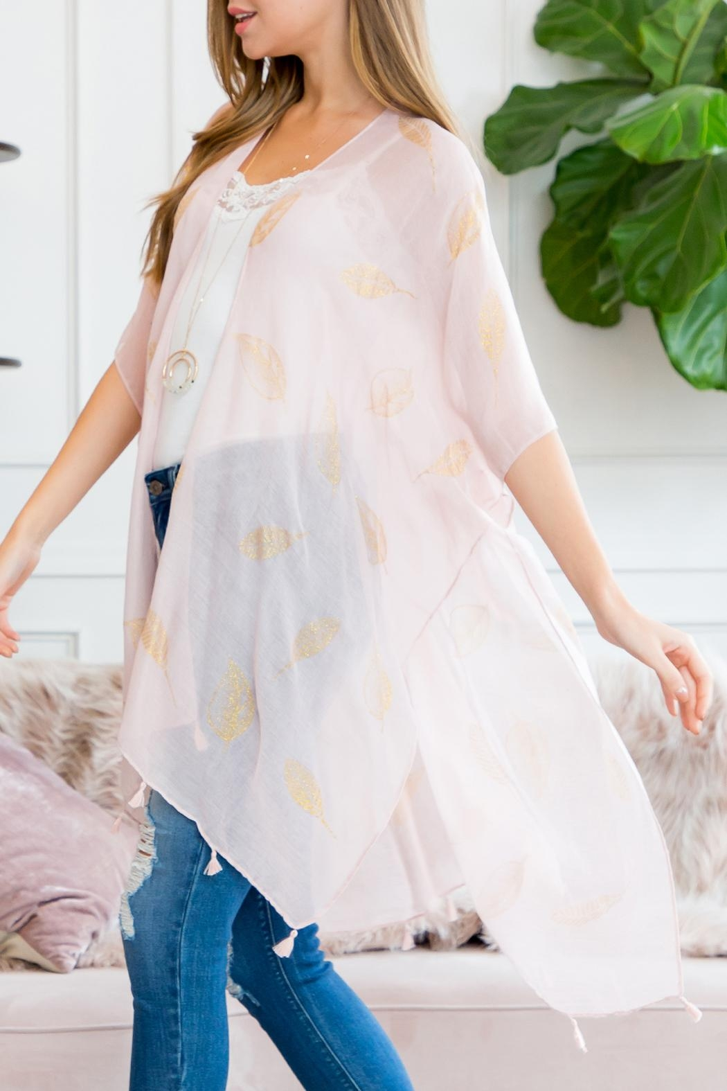Riah Fashion Glitter Leaves Kimono - Front Full Image