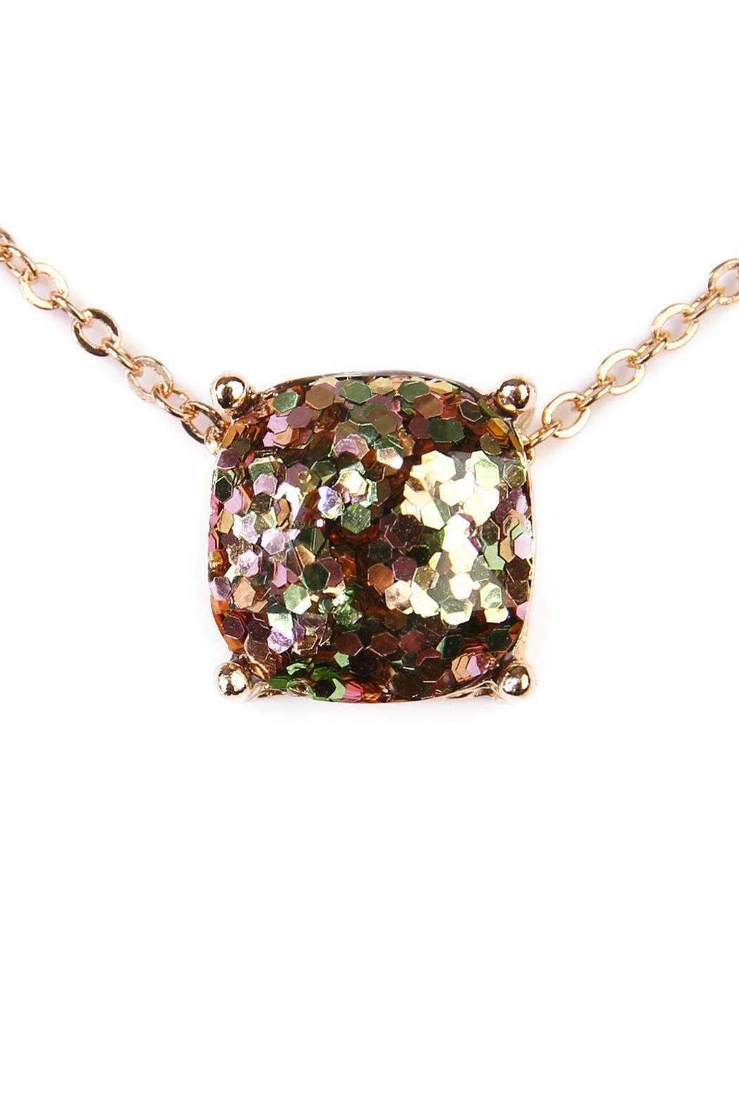 Riah Fashion Glitter Pendant Necklace - Front Full Image