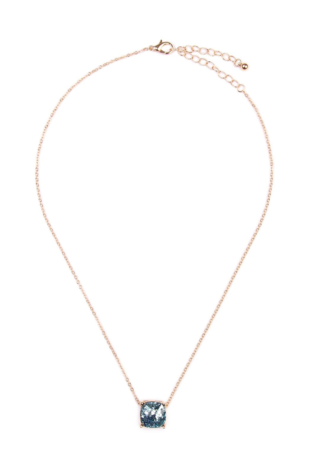 Riah Fashion Glitter Pendant Necklace - Front Cropped Image