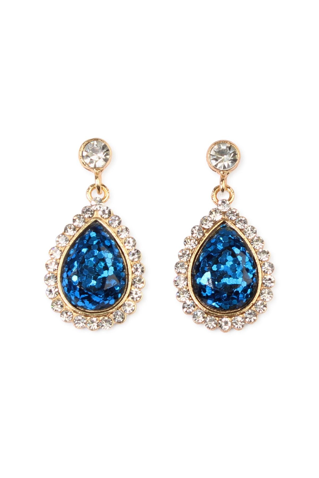 Riah Fashion Glitter Teardrop Earrings - Main Image