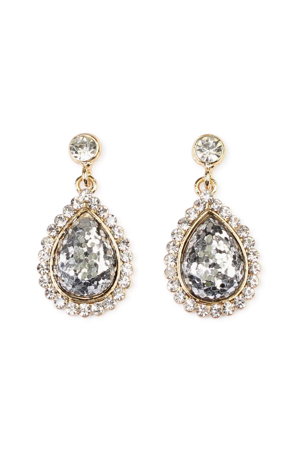 Riah Fashion Glitter Teardrop Earrings - Front Cropped Image