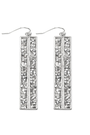 Riah Fashion Glittered Rhinestone Bar Fish Hook Drop Earrings - Product Mini Image