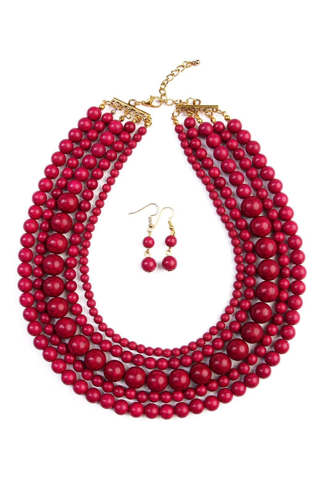 Riah Fashion Globe Strand Necklace Set - Main Image