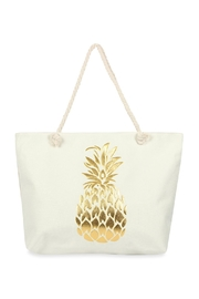 Riah Fashion Gold Pineapple Printed Tote Bag - Front cropped