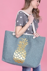 Riah Fashion Gold Pineapple Printed Tote Bag - Front full body