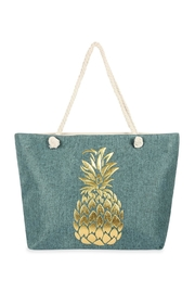 Riah Fashion Gold Pineapple Printed Tote Bag - Product Mini Image
