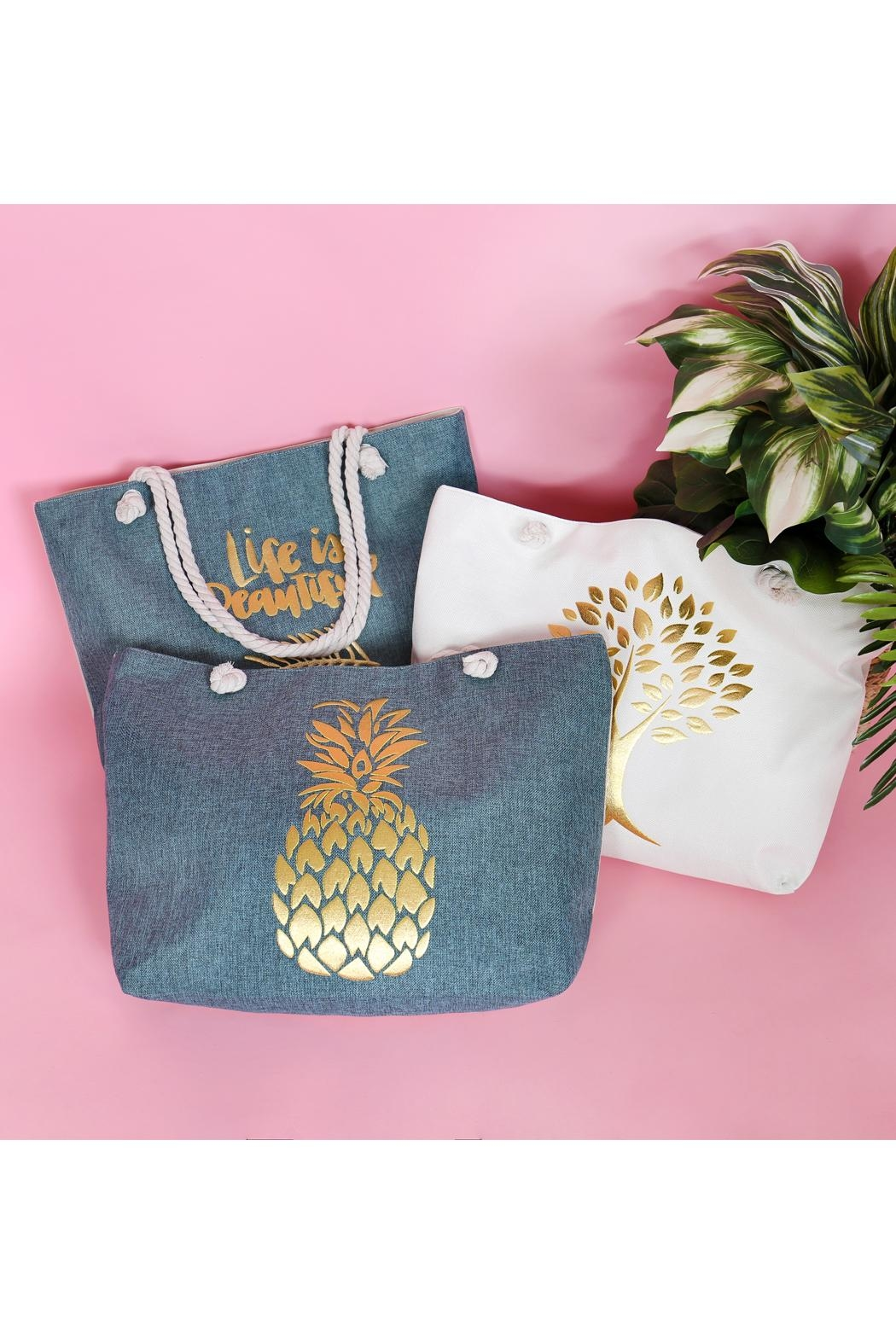 Riah Fashion Gold Printed Tree Tote Bags - Front Full Image