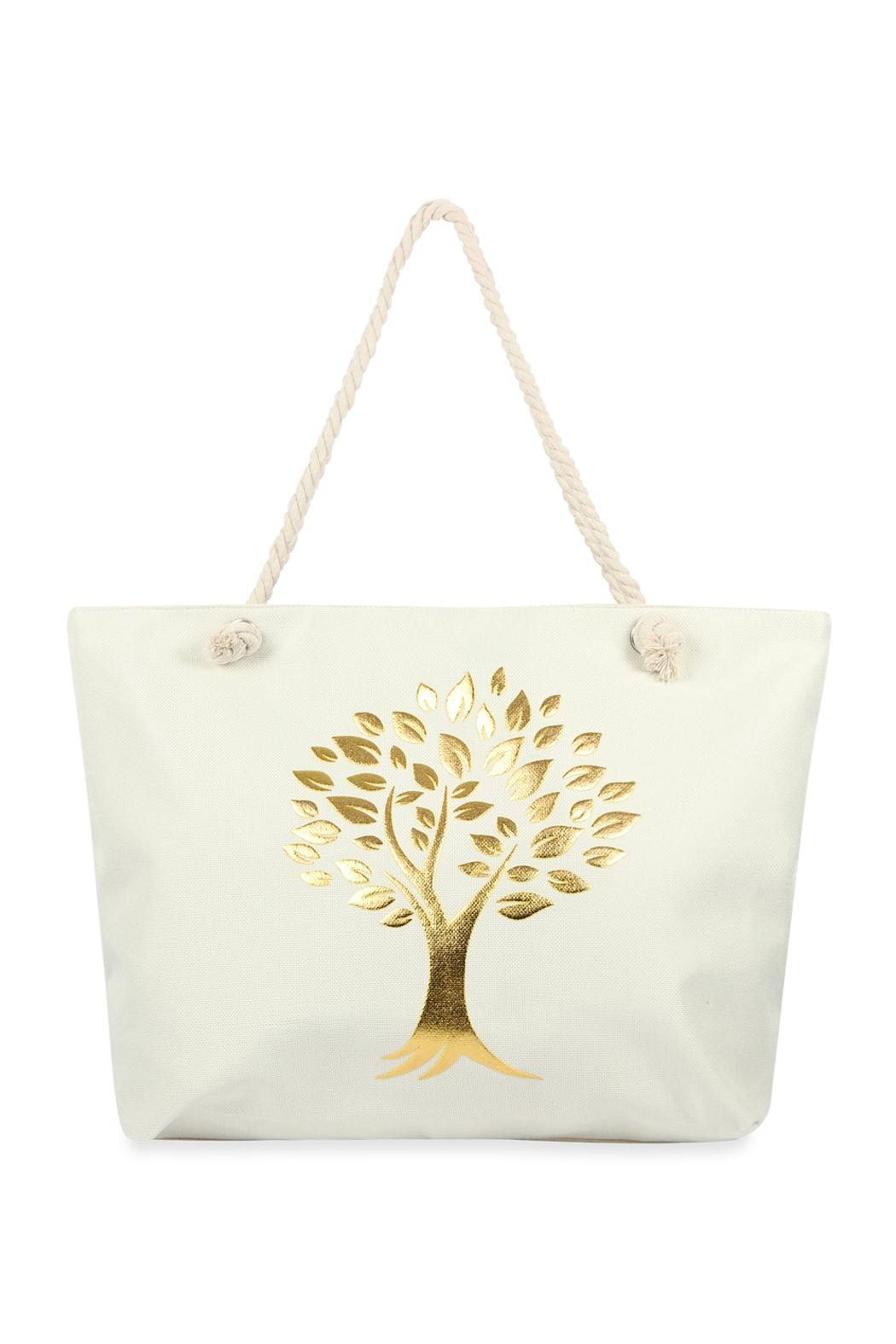 Riah Fashion Gold Printed Tree Tote Bags - Front Cropped Image
