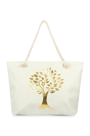 Riah Fashion Gold Printed Tree Tote Bags - Product Mini Image