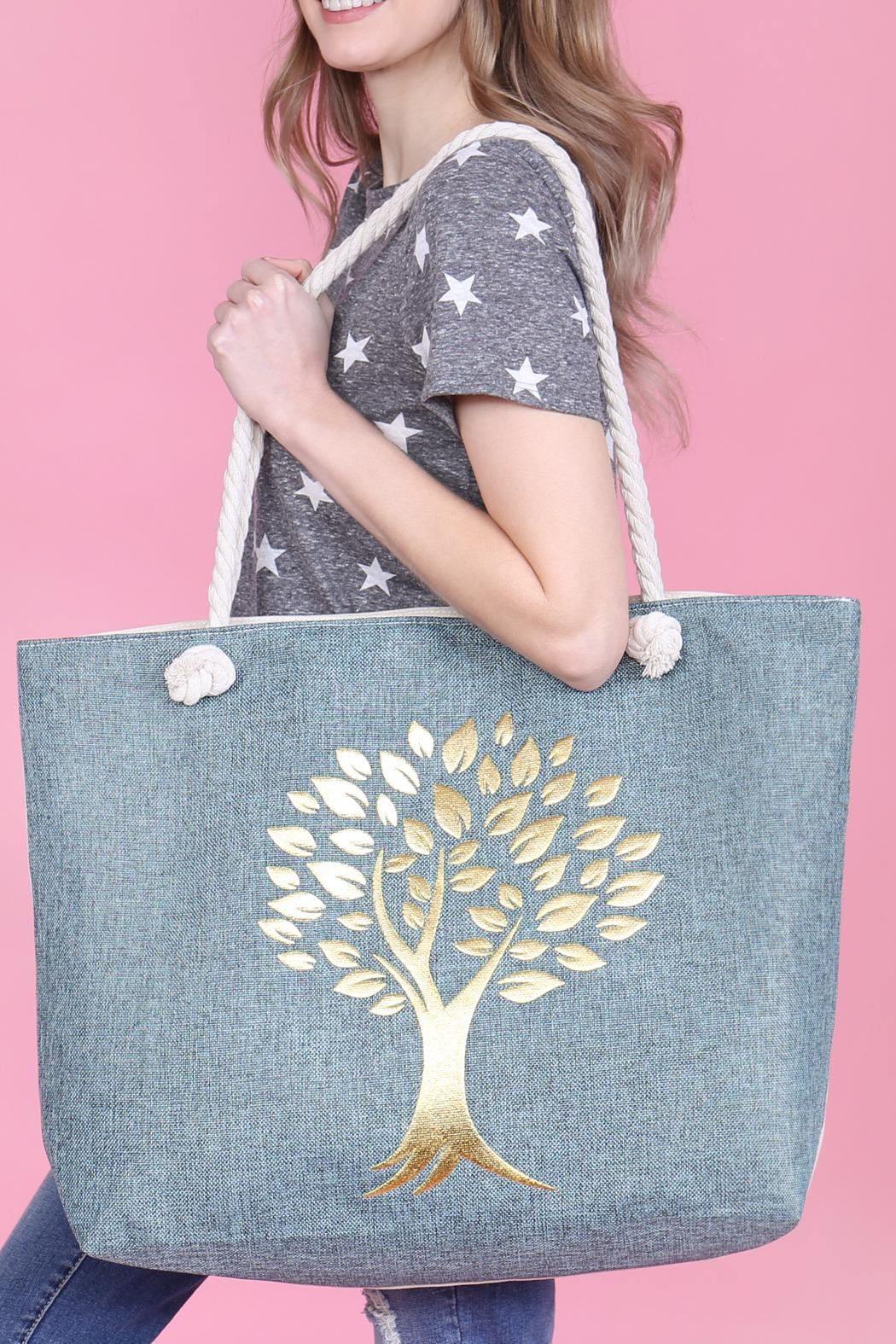 Riah Fashion Gold Printed Tree Tote Bags - Back Cropped Image