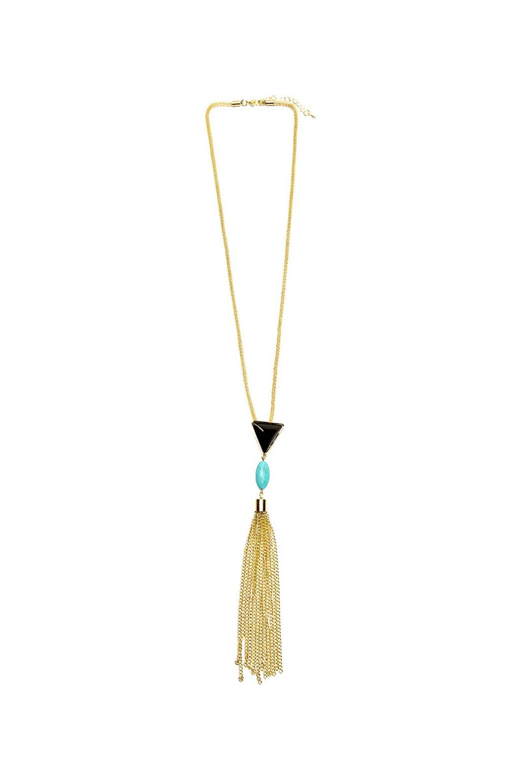 Riah Fashion Gold Rope Tassel Necklace - Main Image