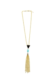 Riah Fashion Gold Rope Tassel Necklace - Front cropped
