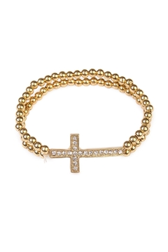 Shoptiques Product: Goldtone Cross Stretchable Bracelet