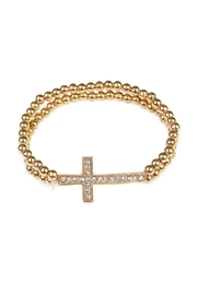 Riah Fashion Goldtone Cross Stretchable Bracelet - Product Mini Image