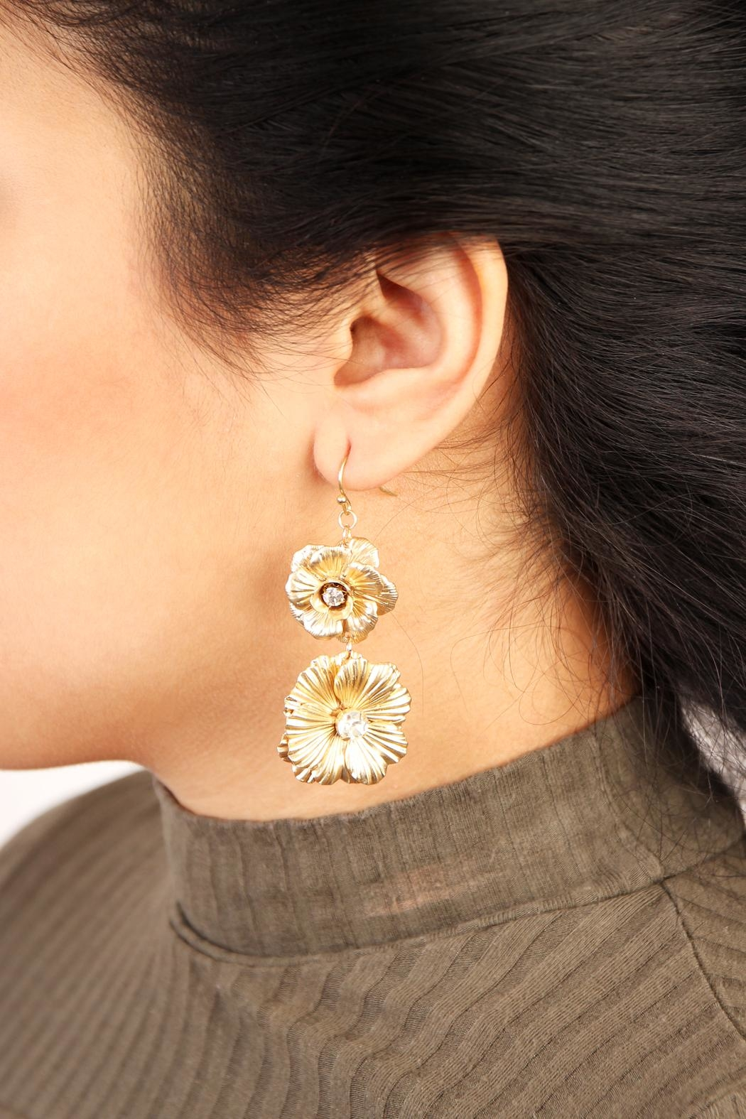 Riah Fashion Gold Filigree Drop Earrings - Front Full Image