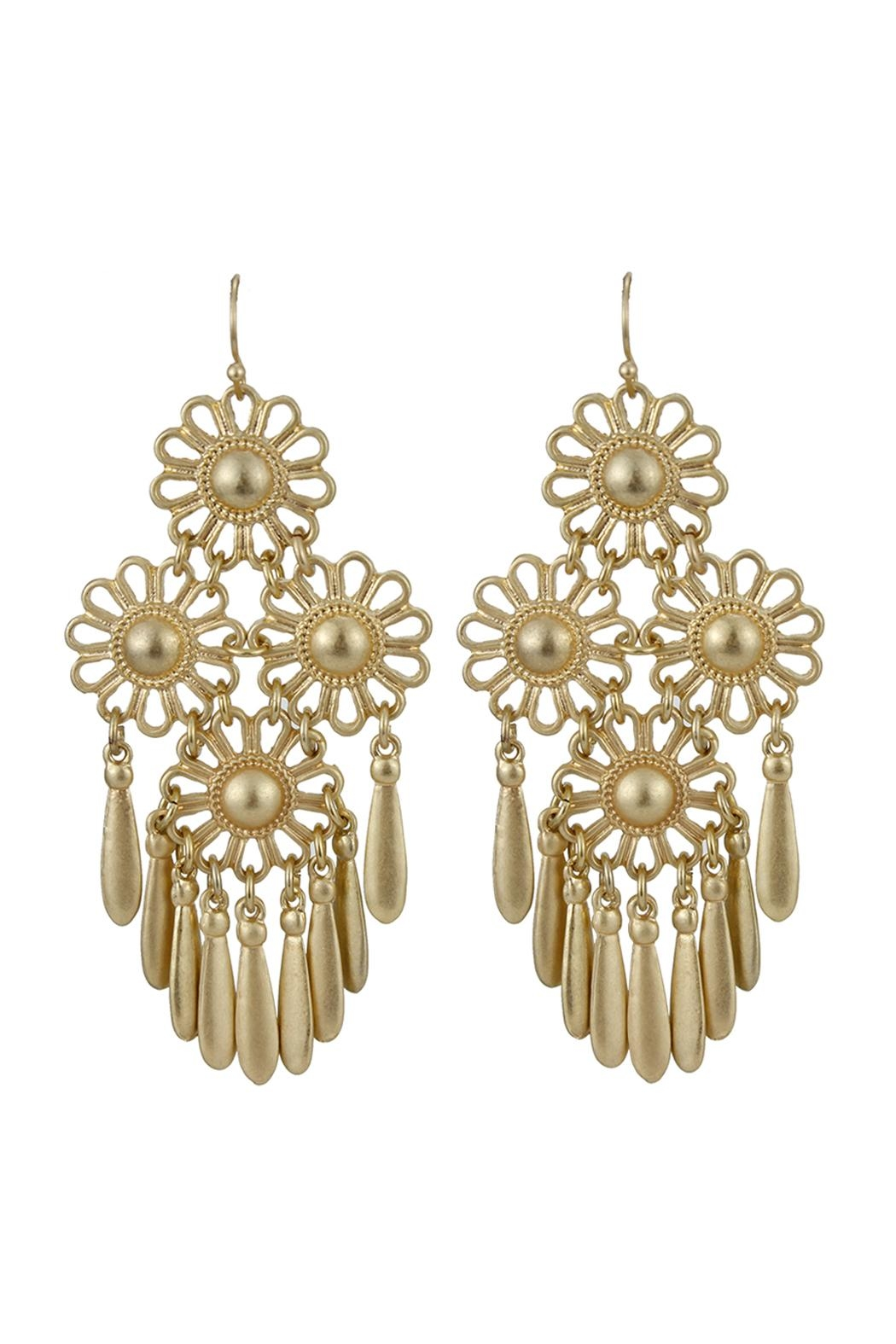 Riah Fashion Gold Flower Dangling Earrings Front Cropped Image