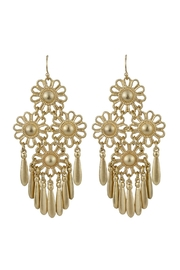 Riah Fashion Gold Flower Dangling Earrings - Product Mini Image