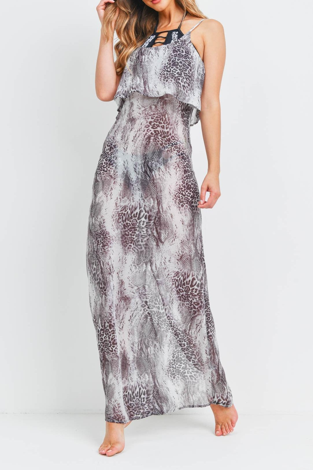 Riah Fashion Gray-Animal-Print-Beach-Cover-Up-See-Through-Dress - Side Cropped Image