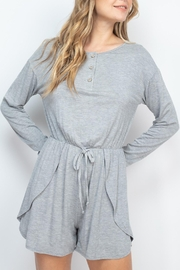 Riah Fashion Gray Romper - Front cropped