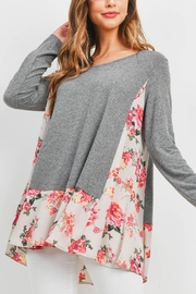 Riah Fashion Gray-Sand-Floral-Top - Product Mini Image