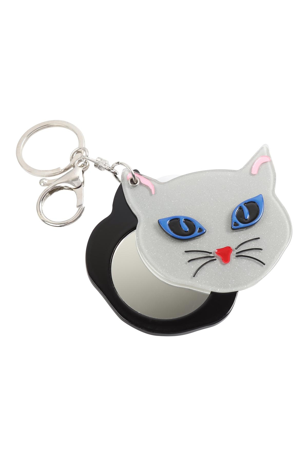Riah Fashion Gray/white-Assorted-Cat-W/-Mirror-Keychain - Side Cropped Image