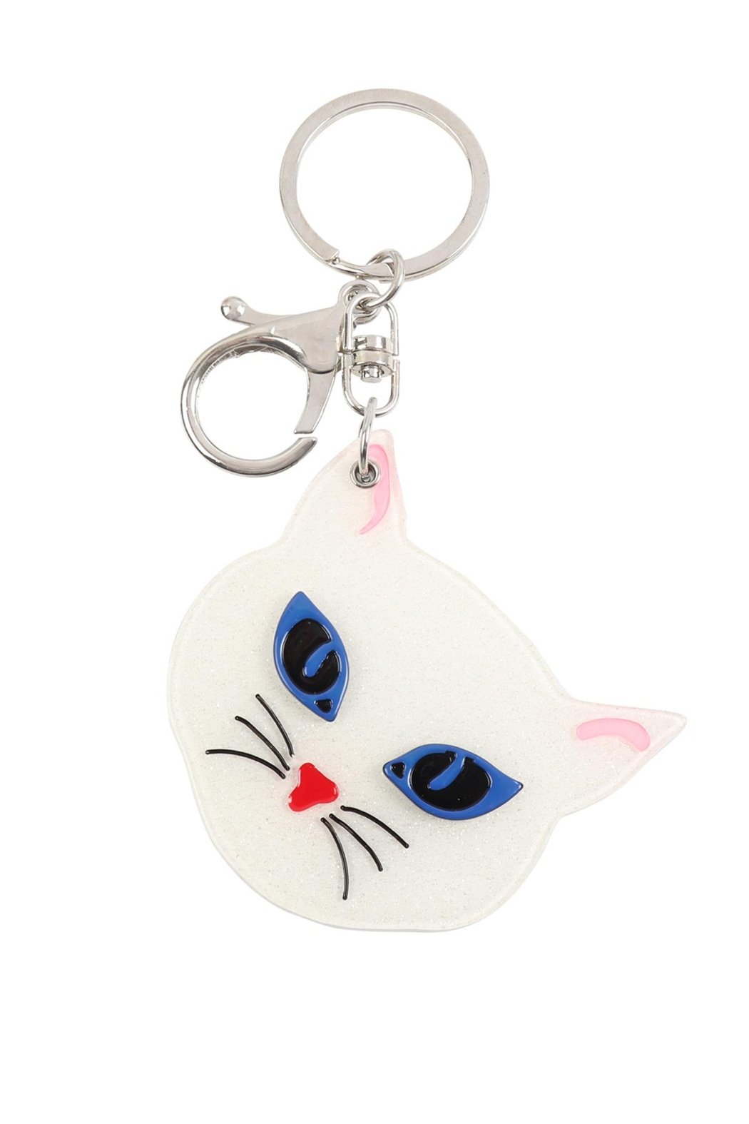 Riah Fashion Gray/white-Assorted-Cat-W/-Mirror-Keychain - Front Full Image