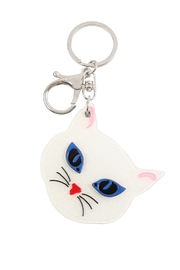 Riah Fashion Gray/white-Assorted-Cat-W/-Mirror-Keychain - Front full body