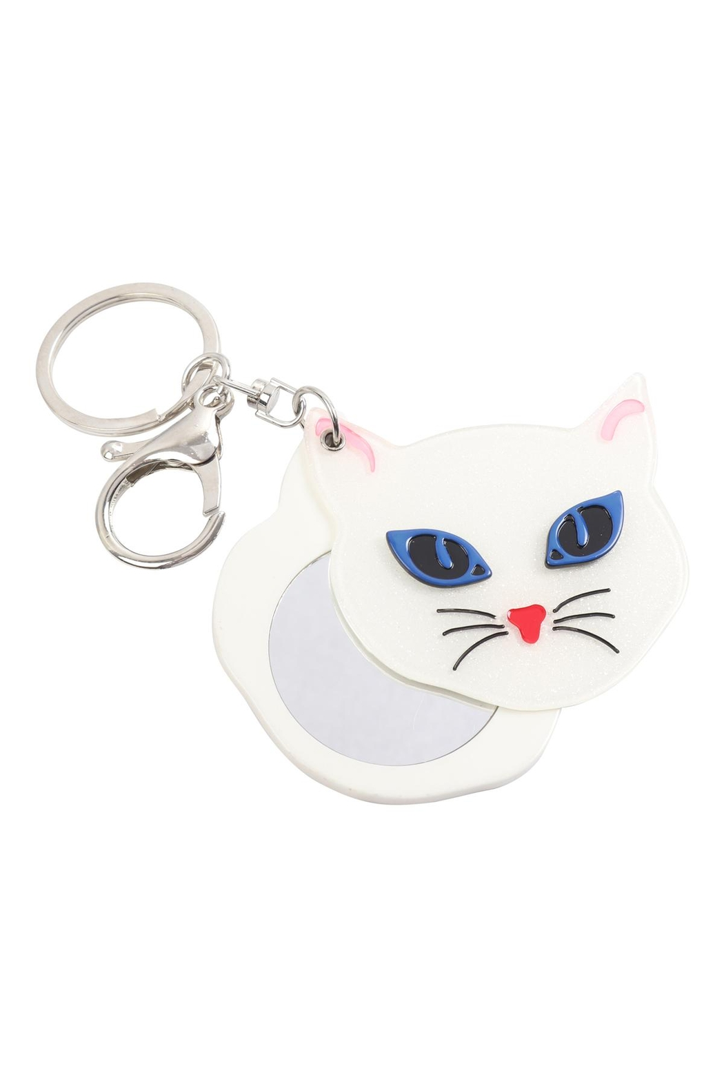 Riah Fashion Gray/white-Assorted-Cat-W/-Mirror-Keychain - Back Cropped Image