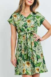 Riah Fashion Green Floral Dress - Front cropped