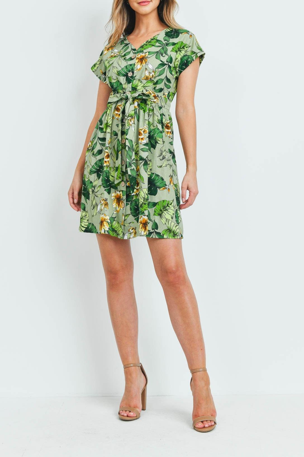 Riah Fashion Green Floral Dress - Side Cropped Image