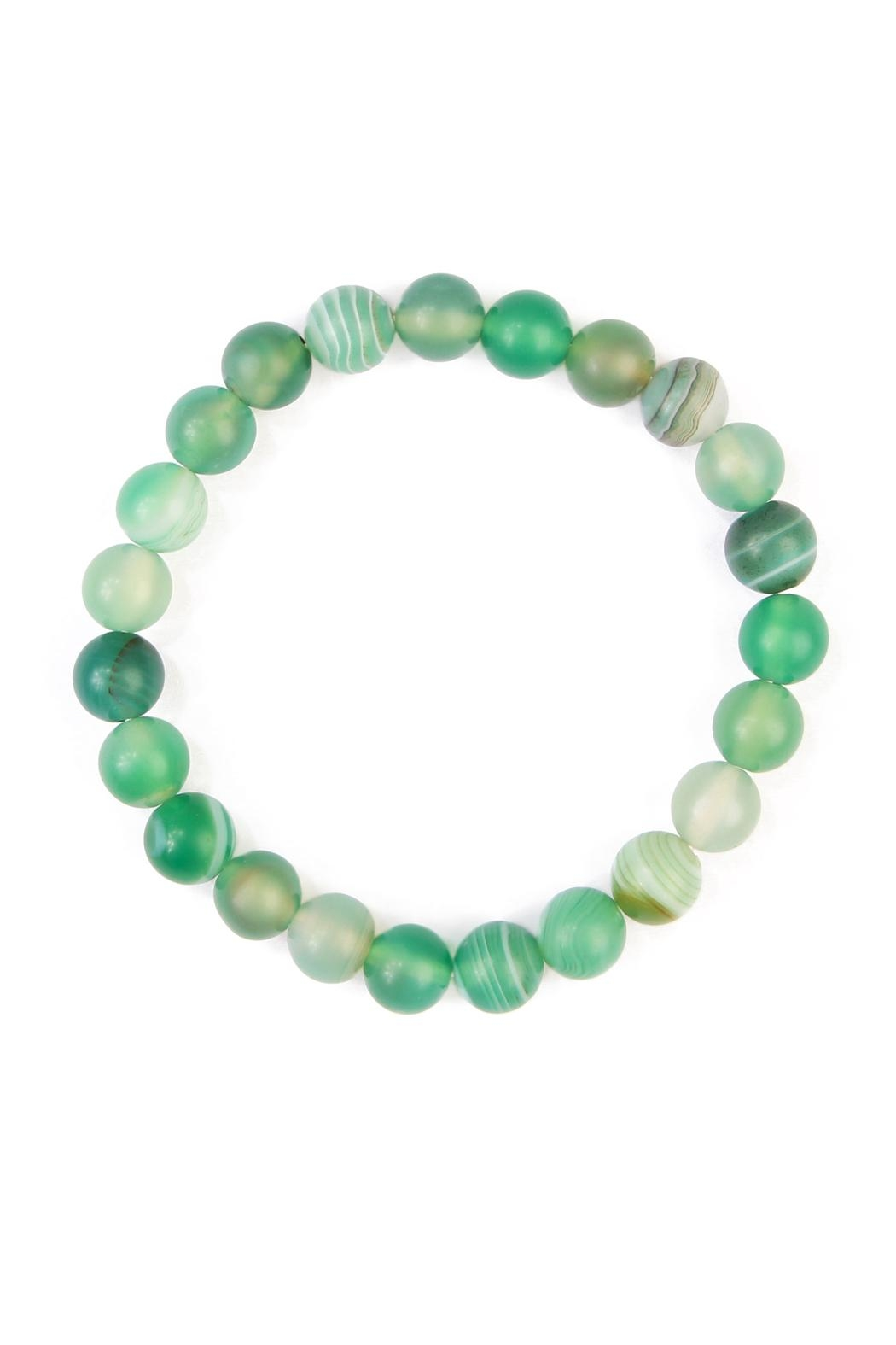Riah Fashion Green Stone Beaded Bracelet - Front Cropped Image